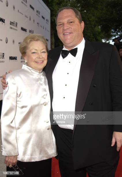Dr Mathilde Krim and Harvey Weinstein during 2003 Cannes Film Festival Cinema Against Aids 2003 to benefit amfAR sponsored by Miramax Arrivals at Le...