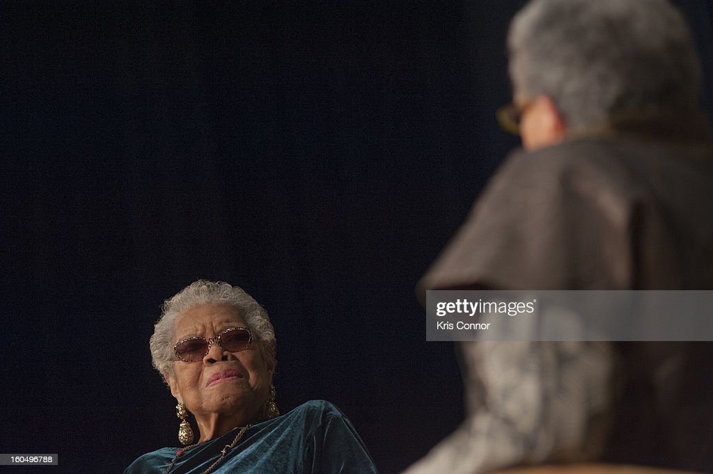 Dr <a gi-track='captionPersonalityLinkClicked' href=/galleries/search?phrase=Maya+Angelou&family=editorial&specificpeople=772742 ng-click='$event.stopPropagation()'>Maya Angelou</a> and Jonnetta Betsch Cole speaks as part of the Smithsonian National Museum of African Art's Director's Discussions Series in the Rasmussen Theater at the Smithsonian's National Museum of the American Indian on February 1, 2013 in Washington, DC.