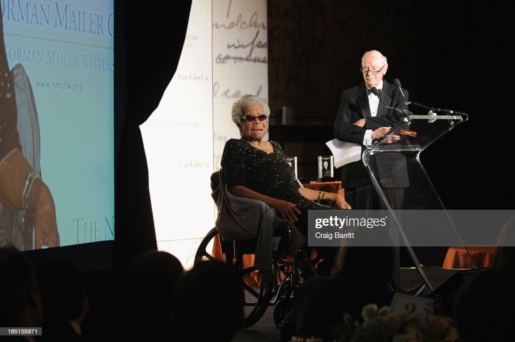 Dr. <a gi-track='captionPersonalityLinkClicked' href=/galleries/search?phrase=Maya+Angelou&family=editorial&specificpeople=772742 ng-click='$event.stopPropagation()'>Maya Angelou</a> and Robert Loomis speak at The Norman Mailer Center Fifth Annual Benefit Gala at The New York Public Library at The New York Public Library on October 17, 2013 in New York City.