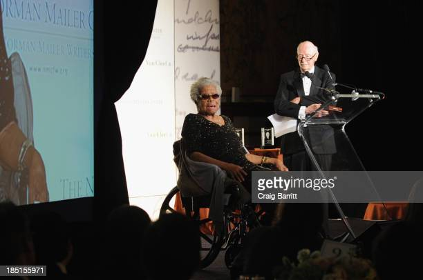 Dr Maya Angelou and Robert Loomis speak at The Norman Mailer Center Fifth Annual Benefit Gala at The New York Public Library at The New York Public...