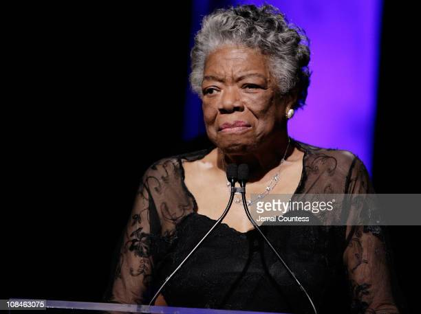 Dr Maya Angelou on stage during the 33rd Annual American Women In Radio Television Gracie Allen Awards at the Marriott Marquis on May 28 2008 in New...