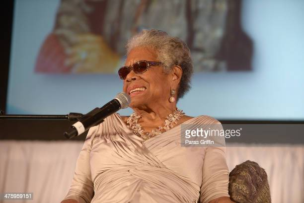 Dr Maya Angelou onstage at the Women 2 Women 2014 Inaugural Conference Luncheon at the Marriott Marquis Hotel on March 1 2014 in Atlanta Georgia Dr...