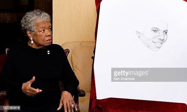 Dr Maya Angelou speaks at the Special Recognition Event in support of The Michael Jackson Tribute Portrait at the home of Dr Maya Angelou on June 21...