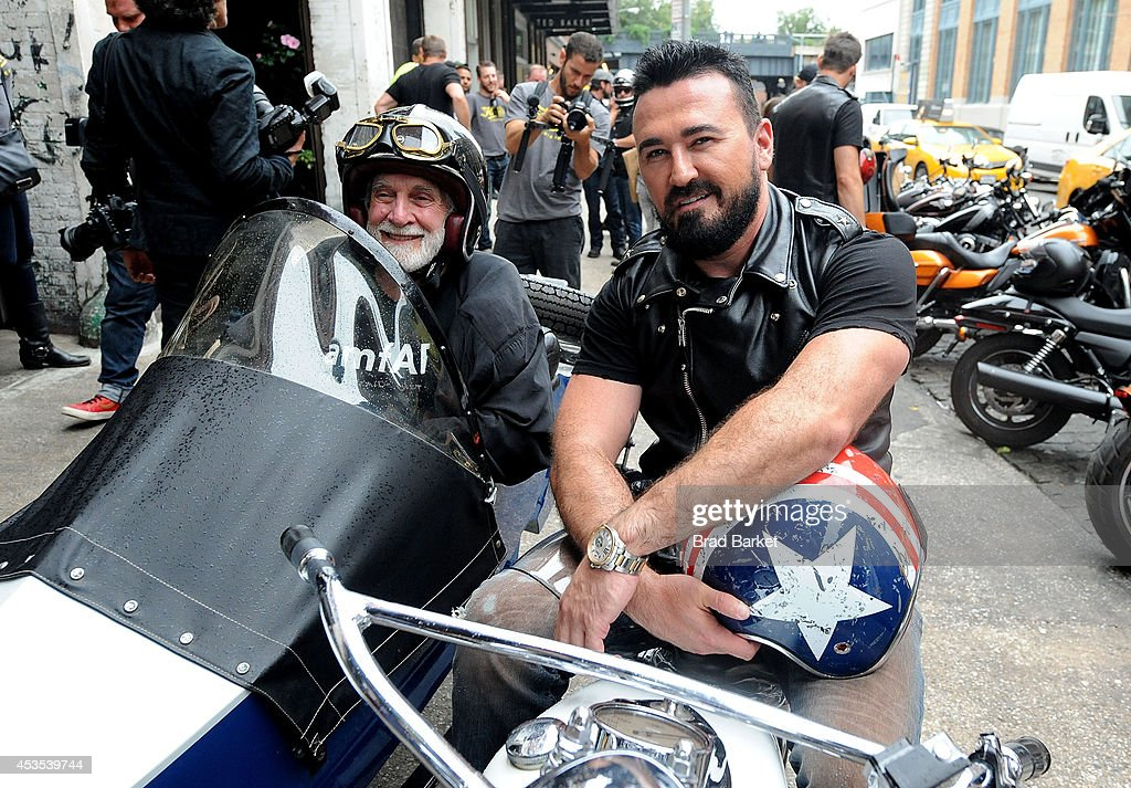 Dr. Mervyn Silverman (L) and Chris Salgardo attends the 5th Annual Kiehl's LifeRide for amfAR Finale Celebration on August 12, 2014 in New York City.