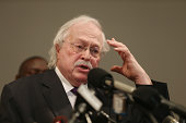 Dr Michael Baden a medical examiner who carried out the autopsy on Michael Brown speaks about the autopsy during a press conference at the Greater St...