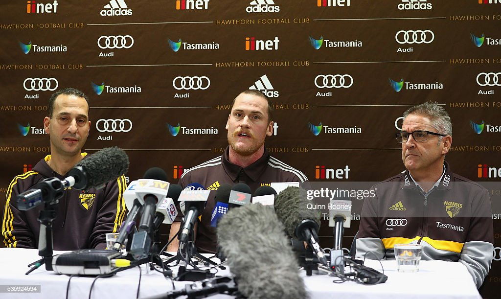 Dr Michael Makdissi, <a gi-track='captionPersonalityLinkClicked' href=/galleries/search?phrase=Jarryd+Roughead&family=editorial&specificpeople=227104 ng-click='$event.stopPropagation()'>Jarryd Roughead</a> and Chris Fagan of the Hawks speaks to the media during a Hawthorn Hawks AFL media opportunity at Waverley Park on May 31, 2016 in Melbourne, Australia.