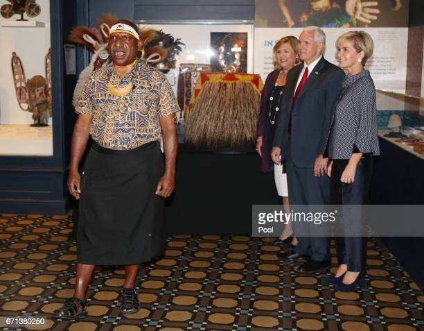 Dr Michael Mel gives a traditional highlands of Papa New Guinea welcome to US Vice President Mike Pence and Australian Foreign Minister Julie Bishop...