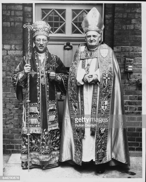 Dr Michael Ramsey the Archbishop of Canterbury stands with Athenagoros II of Metropolitan of Thyateiria The Archbishop had just preached at a...