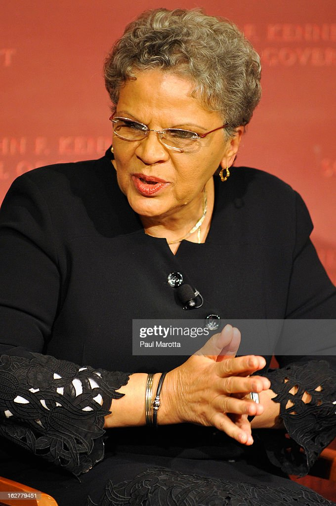 Dr. <a gi-track='captionPersonalityLinkClicked' href=/galleries/search?phrase=Michele+Pierre-Louis&family=editorial&specificpeople=5479879 ng-click='$event.stopPropagation()'>Michele Pierre-Louis</a>, Prime Minister of Haiti (2008-09) and President, FOKAL Foundation, speaks at the John F Kennedy Jr. Forum: 'Haiti Progress And Challenges Three Years Later' on February 26, 2013 in Boston, Massachusetts.