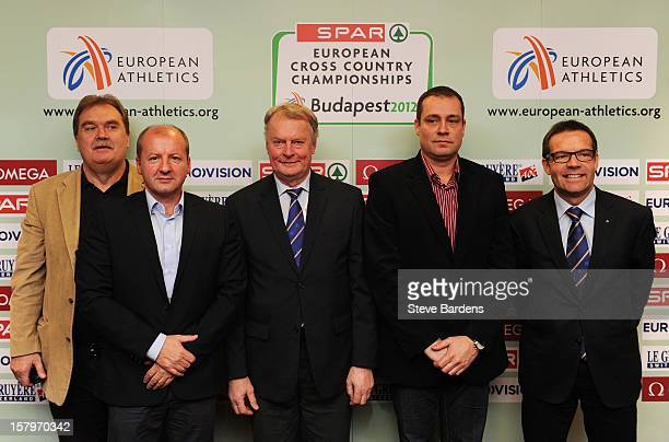 Dr Miklos Cseri Dr Istvan Simicsko Karel Pilny Miklos Gyulai and Christian Milz after a press conference for the 19th SPAR European Cross Country...