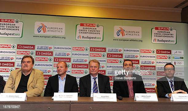 Dr Miklos Cseri Dr Istvan Simicsko Karel Pilny Miklos Gyulai and Christian Milz talk to the media during a press conference for the 19th SPAR...