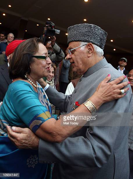 Dr Najma Heptullah and Union Minister Dr Farooq Abdullah during the launch of the book 'Impressions' written by BJP leader Najma Heptullah in New...