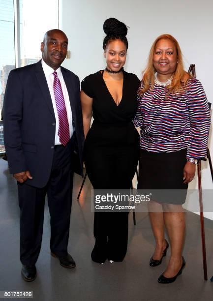 Dr Nicholas Stapleton Chrisette Michele and Mrs Stapleton attend the Academy Charter School Art Auction Fundraiser at The Glasshouses on June 26 2017...