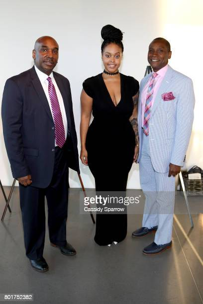 Dr Nicholas Stapleton Chrisette Michele and Wayne Haughton attend the Academy Charter School Art Auction Fundraiser at The Glasshouses on June 26...