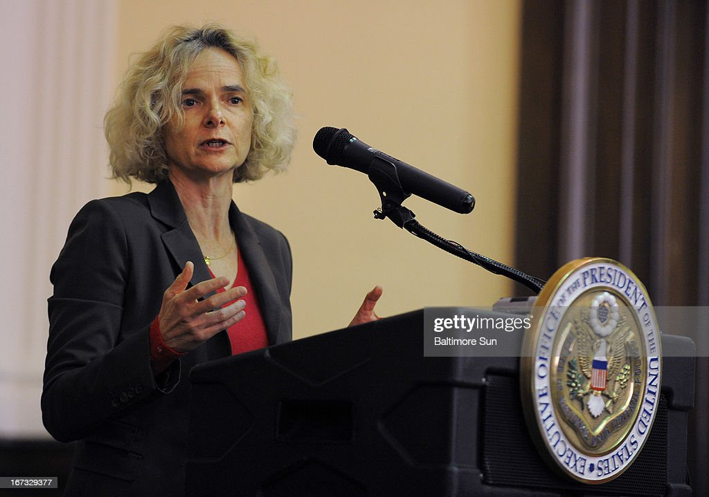 Dr. Nora D. Volkow, Director of the National Institute on Drug Abuse part of NIH, speaks at the news conference where Gil Kerlikowske, Director of National Drug Control Policy (ONDCP) and President Obama's top drug policy advisor, released the Obama Administration's National Drug Control Strategy, Wednesday, April 24, 2013, at the Welch Medical Library on the campus of Johns Hopkins School of Medicine in Baltimore, Maryland.