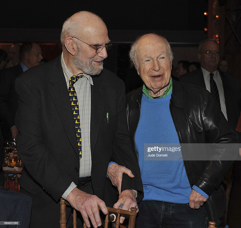 Dr. Oliver Sacks and Director Peter Brook attend the 2013 BAM Theater Gala at Brooklyn Academy of Music on January 24, 2013 in the Brooklyn borough of New York City.