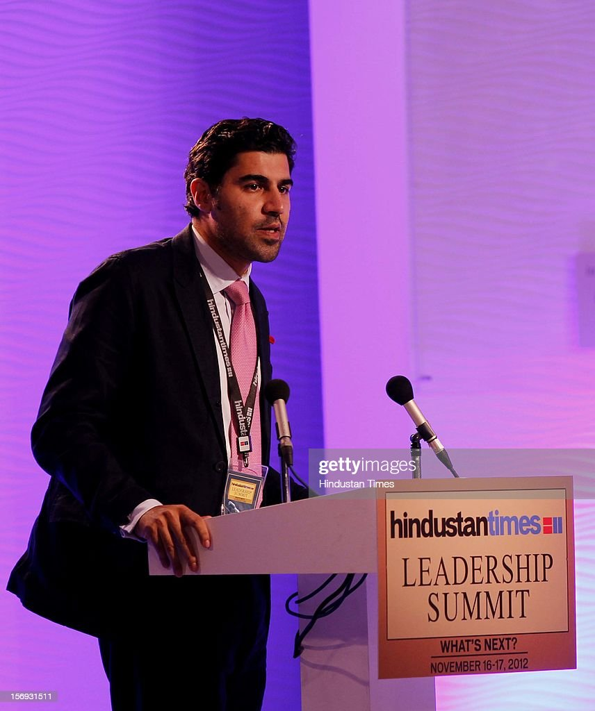 Dr. Parag Khanna, Director Hybrid Reality Institute, addresses the gathering during the debate : The Future Of The Global Economy: Cause For Optimism Or Pessimisim? during the first day of the Hindustan Times Leadership Summit on November 16, 2012 in New Delhi, India.