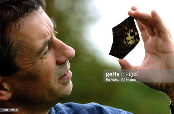 Dr Paul Stamper English Heritage Ancient Monuments Inspector holds a piece of rare 14th century medieval glass unearthed by burrowing rabbits which...