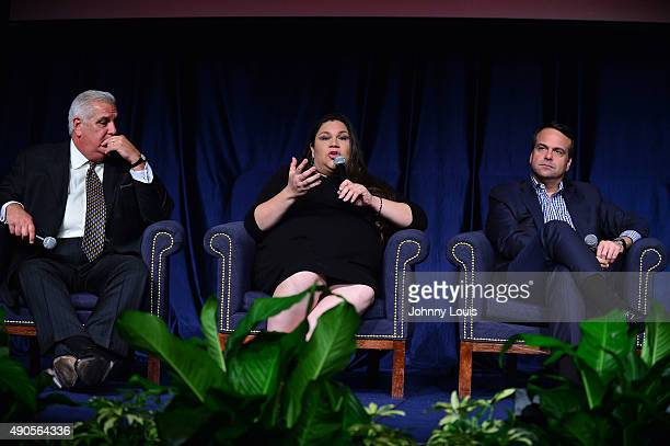 Dr Pedro Jose Greer Gaby Pacheco and Jorge Plasencia participate in the 'I Am Latino In America' Tour at Florida International University on...