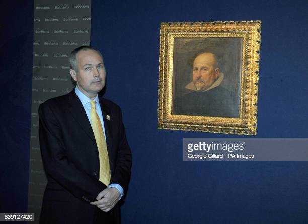 Dr Peter Cherry who discovered the previously unknown portrait by Spanish artist Diego Rodriguez de Silva y Velazquez on show at Bonhams in London...