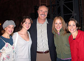 Dr Phil McGraw with Jennifer Naimo Heather Ferguson Erica Piccininni and Sara Schmidt posing backstage at 'Jersey Boys' on Broadway at The August...