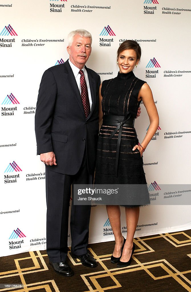 Dr. Philip J. Landrigan and Jessica Alba at the Champion For Children Award Ceremony Honoring Jessica Alba at Hyatt Regency Greenwich on May 20, 2013 in Greenwich, Connecticut.