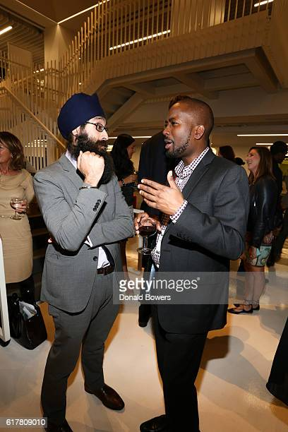 Dr Prabhjot Singh and Sangu Delle Founder and CEO Golden Palm Investments attend The 2016 GLG Social Impact Fellows Reception at GLG on October 24...