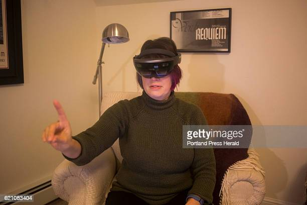 Dr R Aileen Yingst Senior Scientist at the Planetary Sciences Institute uses a HoloLens virtual reality tool that helps her see Mars at her home in...
