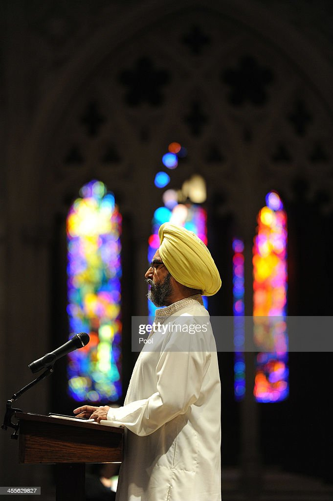 Dr. Rajwant Singh, founder and chairman of the Sikh Council on Religion and Education (SCORE) speaks during a National Vigil for Victims of Gun Violence just prior to the first anniversary marking the Sandy Hook Elementary School mass shooting at Washington National Cathedral on December 12, 2013 in Washington, DC. The event was to mark the one year anniversary of the December 14, 2012 shooting that killed 26 students and teachers at Sandy Hook Elementary School in Newtown, Connecticut.