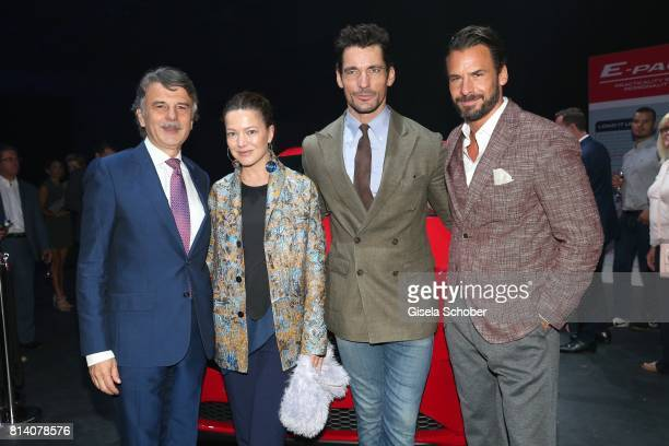 Dr Ralf Speth CEO Jaguar Land Rover Hannah Herzsprung David Gandy and Stephan Luca during the Jaguar Land Rover global reveal and presentation of the...