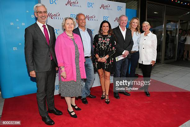 Dr Reinhard Scolik Sarah CampChristine Neubauer Director FranzXaver Bogner Monika Gruber and Heike Richter Karst during the preview for the series...