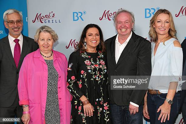 Dr Reinhard Scolik Sarah CampChristine Neubauer Director FranzXaver Bogner Monika Gruber during the preview for the series 'Moni's Grill' at...