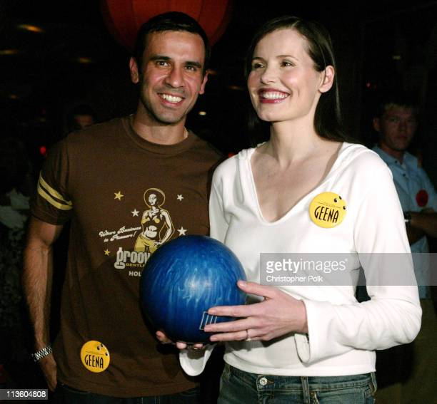 Dr Reza Jarrahy and Geena Davis during 2003 ESPY Awards PreParty at Lucky Strikes in Hollywood California United States