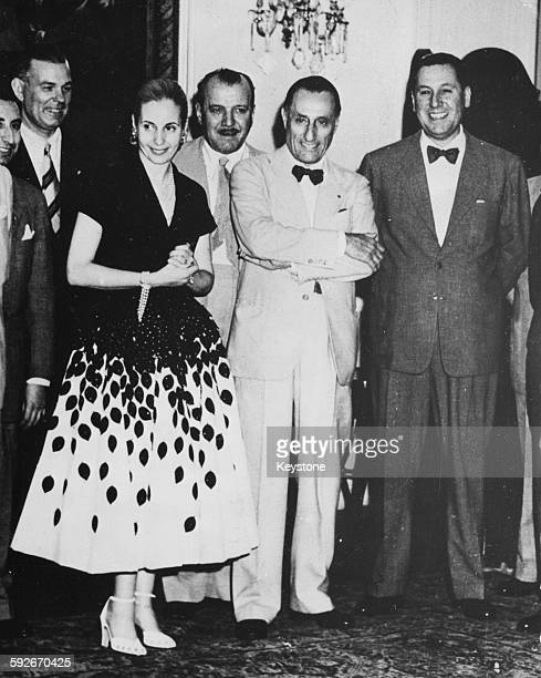 Dr Ricardo Finochietto with President Juan Peron of Argentina and his wife Eva Peron after he was decorated for his successful operation on the First...