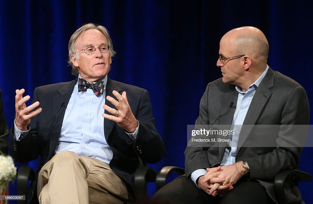 Dr. Richard Beeman and host Peter Sagal of 'Constitution USA' speak onstage during the PBS portion of the 2013 Winter Television Critics Association Press Tour at the Langham Huntington Hotel & Spa on January 14, 2013 in Pasadena, California.
