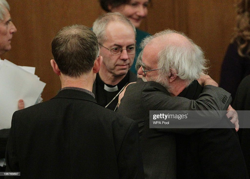 Dr <a gi-track='captionPersonalityLinkClicked' href=/galleries/search?phrase=Rowan+Williams&family=editorial&specificpeople=239468 ng-click='$event.stopPropagation()'>Rowan Williams</a>, the outgoing Archbishop of Canterbury, consoles a colleague after draft legislation introducing the first women bishops in the Church of England failed to receive final approval from the Church of England General Synod on November 20, 2012 in London, England. The Church of England's governing body, known as the General Synod, voted on whether to allow women to become bishops.
