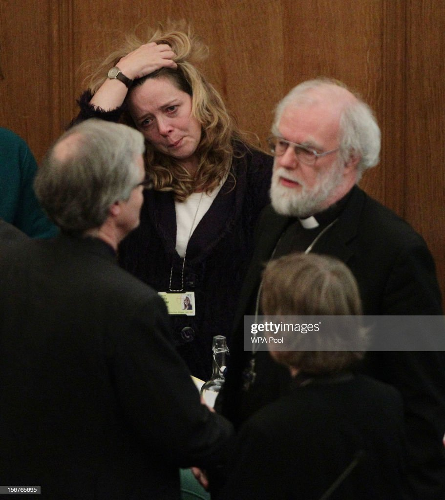 Dr <a gi-track='captionPersonalityLinkClicked' href=/galleries/search?phrase=Rowan+Williams&family=editorial&specificpeople=239468 ng-click='$event.stopPropagation()'>Rowan Williams</a>, the outgoing Archbishop of Canterbury, consoles colleagues after draft legislation introducing the first women bishops in the Church of England failed to receive final approval from the Church of England General Synod on November 20, 2012 in London, England. The Church of England's governing body, known as the General Synod, voted on whether to allow women to become bishops.