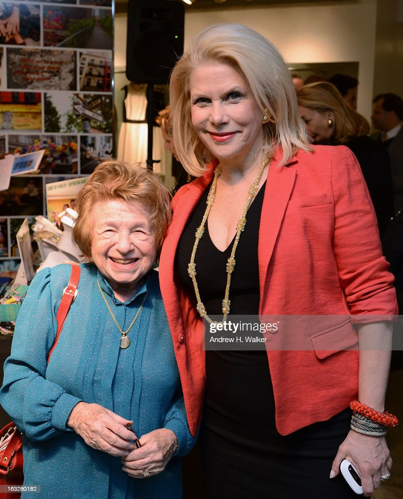 Dr. Ruth and Same Sky founder <a gi-track='captionPersonalityLinkClicked' href=/galleries/search?phrase=Francine+LeFrak&family=editorial&specificpeople=2154061 ng-click='$event.stopPropagation()'>Francine LeFrak</a> attend the DKNY & Same Sky Ethical Shopping Event to celebrate International Women's Day at DKNY Store on March 6, 2013 in New York City.