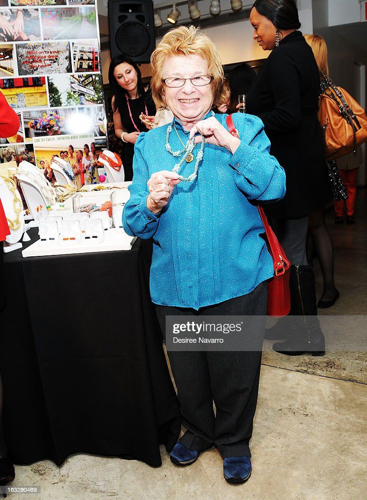 Dr. <a gi-track='captionPersonalityLinkClicked' href=/galleries/search?phrase=Ruth+Westheimer&family=editorial&specificpeople=216372 ng-click='$event.stopPropagation()'>Ruth Westheimer</a> attends the DKNY & Same Sky Host An Ethical Shopping Event To Celebrate International Women's Day at DKNY Store on March 6, 2013 in New York City.