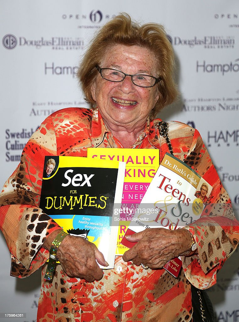 Dr. <a gi-track='captionPersonalityLinkClicked' href=/galleries/search?phrase=Ruth+Westheimer&family=editorial&specificpeople=216372 ng-click='$event.stopPropagation()'>Ruth Westheimer</a> attends the East Hampton Library's Authors Night 2013 at Gardiner's Farm on August 10, 2013 in East Hampton, New York.
