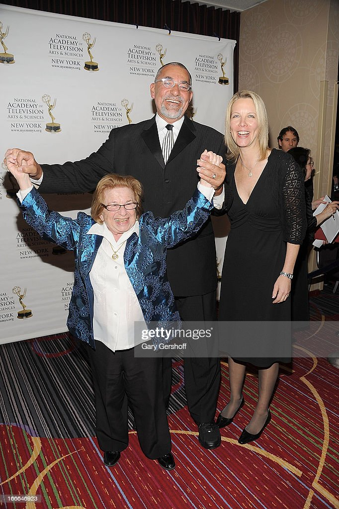 Dr. <a gi-track='captionPersonalityLinkClicked' href=/galleries/search?phrase=Ruth+Westheimer&family=editorial&specificpeople=216372 ng-click='$event.stopPropagation()'>Ruth Westheimer</a>, President and General Manager, NBC New York, Michael Jack and Director of Communications, NBC local media New York, Dawn Rowan attend the 56th Annual New York Emmy Awards at Marriott Marquis Times Square on April 14, 2013 in New York City.