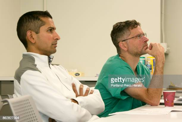 Dr Samip Vasaiwala MD Interventional Cardiology left and Dr Andrew Corsello MD Electophysiology attend a preoperation review for patient Paul Rice at...