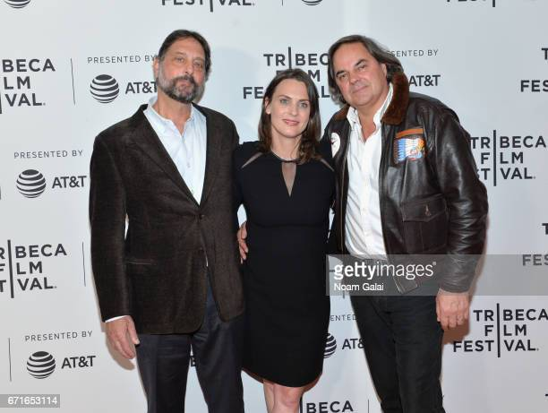 Dr Samuel K Wasser and Director Kate Brooks pose with guest at 'The Last Animals' Premiere during 2017 Tribeca Film Festival at Cinepolis Chelsea on...