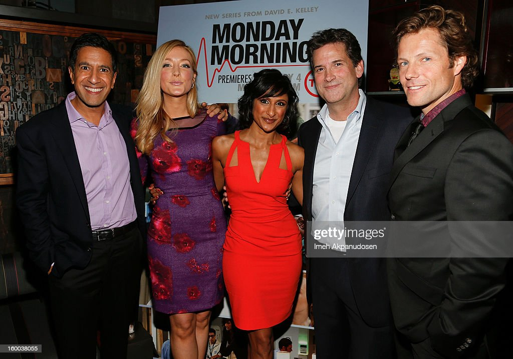 <a gi-track='captionPersonalityLinkClicked' href=/galleries/search?phrase=Dr.+Sanjay+Gupta&family=editorial&specificpeople=3093323 ng-click='$event.stopPropagation()'>Dr. Sanjay Gupta</a>, actresses <a gi-track='captionPersonalityLinkClicked' href=/galleries/search?phrase=Jennifer+Finnigan&family=editorial&specificpeople=213001 ng-click='$event.stopPropagation()'>Jennifer Finnigan</a> and Sarayu Rao, President, Head of Programming for TNT, TBS and Turner Classic Movies <a gi-track='captionPersonalityLinkClicked' href=/galleries/search?phrase=Michael+Wright+-+Television+Executive&family=editorial&specificpeople=14633049 ng-click='$event.stopPropagation()'>Michael Wright</a>, and actor <a gi-track='captionPersonalityLinkClicked' href=/galleries/search?phrase=Jamie+Bamber&family=editorial&specificpeople=4238397 ng-click='$event.stopPropagation()'>Jamie Bamber</a> attend the screening of TNT's 'Monday Mornings' at BOA Steakhouse on January 24, 2013 in West Hollywood, California.