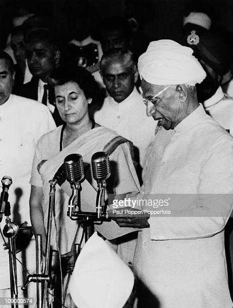 Dr Sarvepalli Radhakrishnan the second President of India administering the oath of office to Prime Minister Indira Gandhi at the Rashtrapati Bhavan...