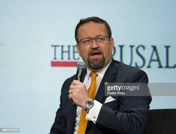 Dr Sebastian Gorka Deputy Assistant to President Donald Trump of the USA speaks at 6th Annual Jerusalem Post conference in New York