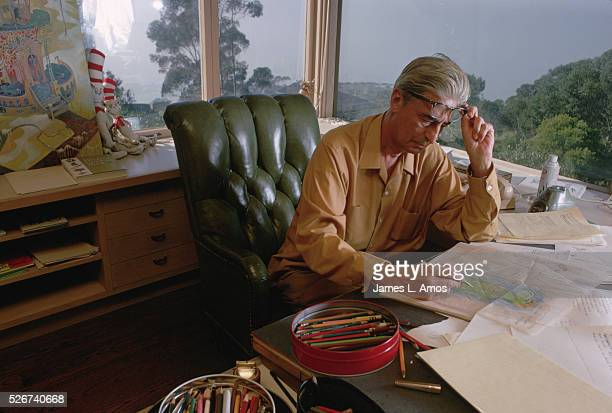 Dr Seuss Drawing at His Desk