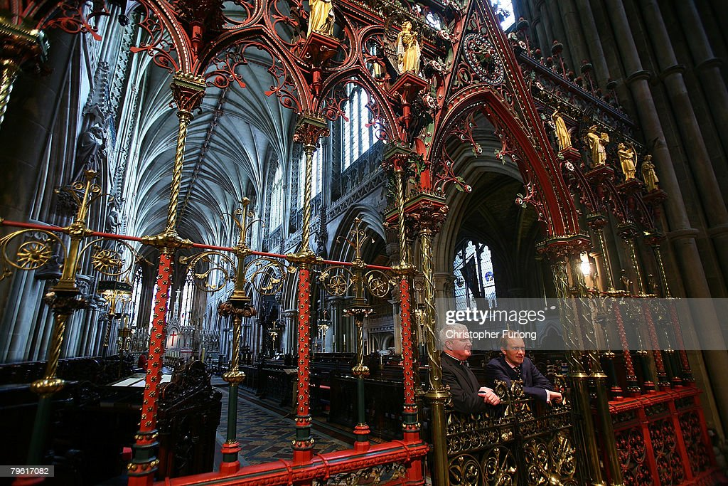 Dr Simon Thurley Chief Executive of English Heritage and The Very Revd Adrian Dorber Dean of Lichfield Cathedral discuss the GBP 250000 grant towards...
