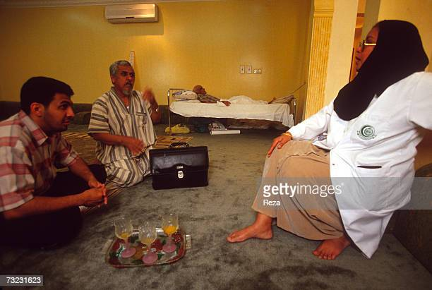 Dr Soad Hassabo Ahmed a female physician who makes house calls visits patients in their home on January 2003 in Jeddah Saudi Arabia Whether wealthy...