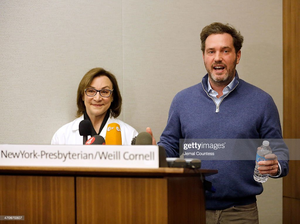 Dr. Sona Degann (L), OBGYN at NewYork-Presbyterian/Weill Cornell Hospital stands by Christopher O'Neill, husband of H.R.H. Princess Madeleine of Sweden as he describes the measurments of his newborn daughter at a press conference at NewYork-Presbyterian/ Weill Cornell Medical Center on February 21, 2014 in New York City. The 31-year-old Princess, whose full title is Madeleine Therese Amelie Josephine, Princess of Sweden, Duchess of Halsingland and Gastrikland, is fourth in line to the throne of Sweden. She married US-British banker Christopher O'Neill in June, and the couple announced in September that they were expecting their first child. 'The Office of the Marshal of the Realm is delighted to announce that H.R.H. Princess Madeleine gave birth to a daughter on February 20, 2014 at 10.41 pm local time New York,' the Swedish court said. 'Both mother and child are in good health.'